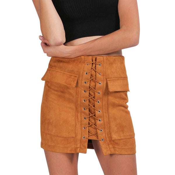 Online discount shop Australia - Lace Up Suede Leather Women Skirt 90's Vintage Pocket Preppy Short Skirt High Waist Casual Mini Skirts