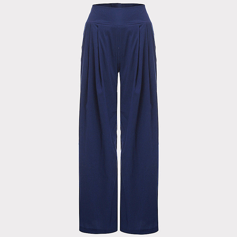 New Women Wide Leg Pants High Waist Elastic Party Pants Casual Trousers Ladies Loose Long Pants Plus SizeBlueSa