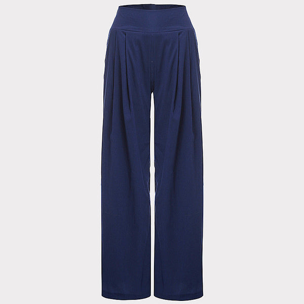 New Women Wide Leg Pants High Waist Elastic Party Pants  Casual Trousers Ladies Loose Long Pants Plus Size