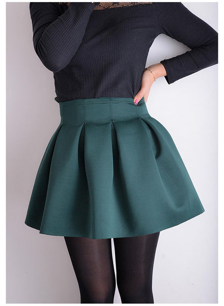 Online discount shop Australia - Elegant Good Quality Fashion Red Green Black Mini Skater Skirt Ball Gown With Zipper Skirts For Women