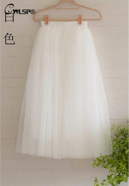 Womens Lace Princess Fairy Style Voile Tulle Skirt Bouffant Puffy Fashion Skirt Long Skirt Tutu Skirt  A-line QZ1374