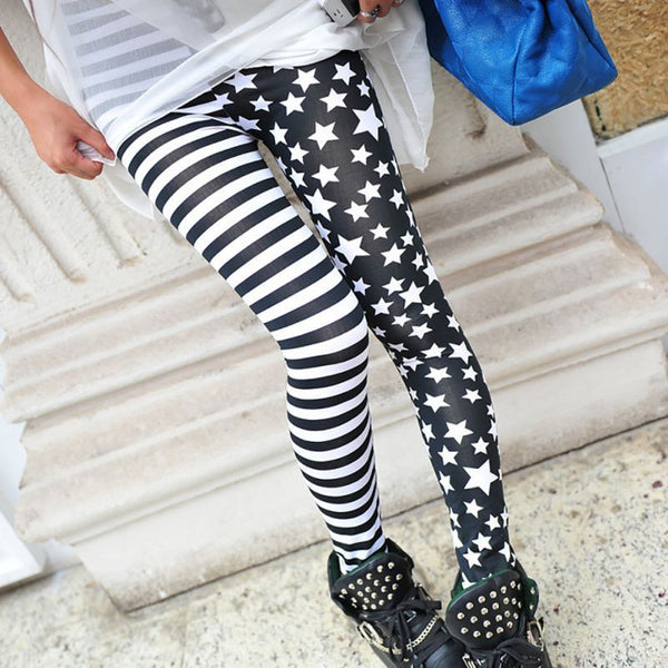 Online discount shop Australia - Breathable Pants Women Leggings Stars Stitching Stripe Leggings Elastic for Girls