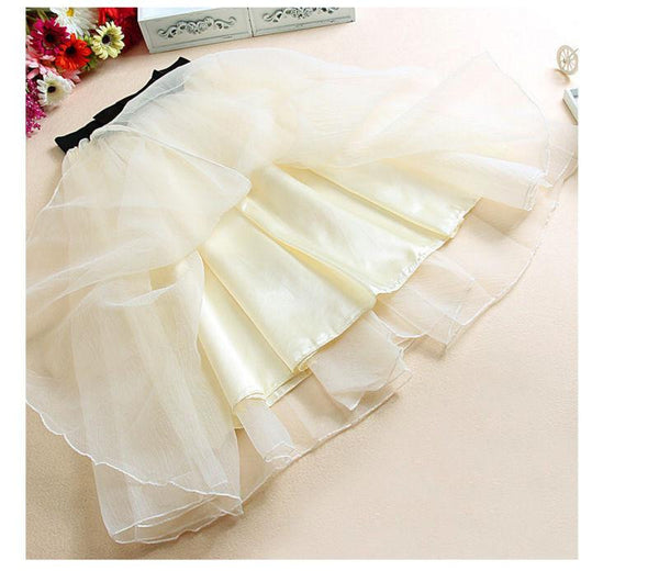 trend high waist organza skirt bow gauze tutu long section of gauze skirts
