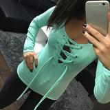 Online discount shop Australia - Casual Bandage Lace Up Long-Sleeve Tshirt Women Sexy Deep V T-shirts Tops 5 Colors Fall Women Clothes