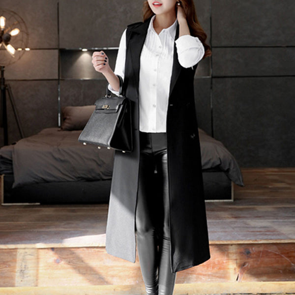 Online discount shop Australia - Long Vest Women Black Turn-down Collar Belt Double  Workwear Waistcoat Outwear WWJ582