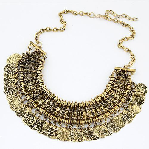 Vintage Maxi Statement Necklaces & Pendants Bohemian Coin Necklace Women Female Choker Collier Femme Boho Jewelry Bijoux