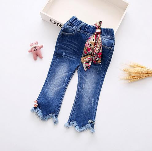 Online discount shop Australia - Butterfly Knotted Baby Long Butterfly Pants Kids baby girls jeans baby Denim pants Ankle Length Trousers
