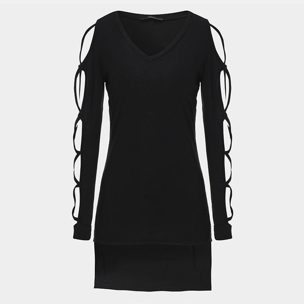 Women Hollow Out Long Sleeve V neck Irregular Split Top Long Plus Size