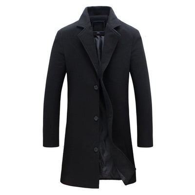 wool long coat men warm black business overcoat mens Stylish woolen jacket praka EU size S-4XL, ZA194