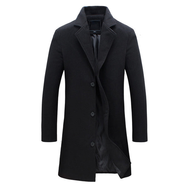 New wool long coat men warm black business overcoat mens Stylish woolen jacket praka EU size S-4XL, ZA194