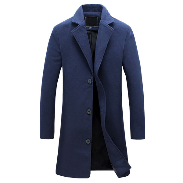 23fd03a1c8e7 New wool long coat men warm black business overcoat mens Stylish woolen  jacket praka EU size