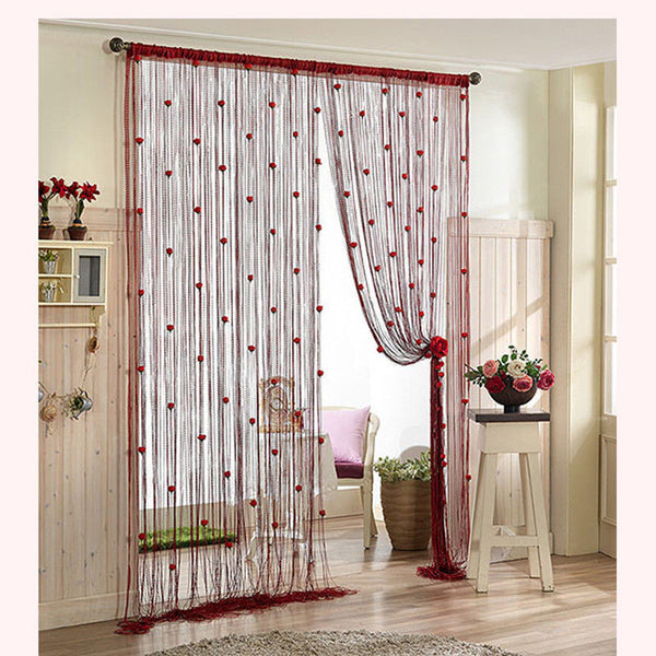 Online discount shop Australia - 100*200cm DIY Rose Curtain Romantic Rose Floral String Flower Design Tassel Curtain Decoration Door Window Room Divider 8 Colors