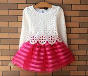 Online discount shop Australia - Girl Dress Children Girls's Clothing Set Long Sleeve Party Striped White Pink Princess Dress