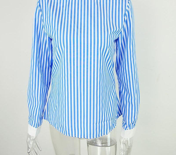Sexy  backless blue striped women blouses new casual long sleeve girls blouse Hollow out o neck bow