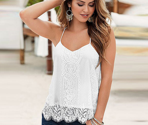 2ad7127fcc0e Women Casual Lace Tank Tops Black White V Neck Tassel Tank Tops Women Lace  Camis