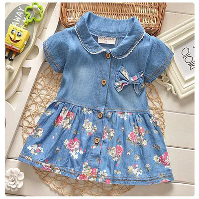 Online discount shop Australia - Children girls flower dress coat baby girls cute bow denim dress kid lapel fashion dress outfits