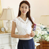 Online discount shop Australia - Fashion Women Blouse Elegant Butterfly Sleeve Crochet Lace Chiffon Shirt Women Tops Office Shirt Plus Size