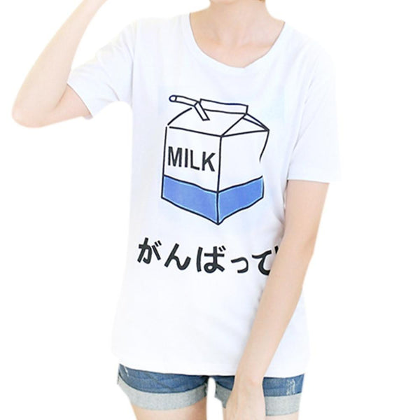 women's t shirt Korean ladies tees cute milk printing female tops student short-sleeved loose T-shirt