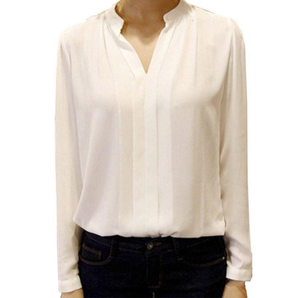 Women Chiffon Shirt Blouse Ladies White Pink Elegant Sexy V-neck Long Sleeve Shirts Female Office Shirt Plus Size