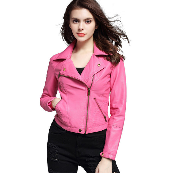 Online discount shop Australia - Crop Motorcycle Jacket Pink/Black Lapel Oblique Zipper Punk Style Women PU Leather Jacket Coat Fashion Crop Tops