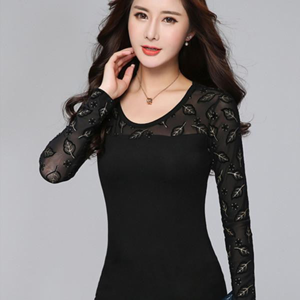 Women Tops Elegant Long Sleeve Shirts Lace Crochet  Slim Turtleneck Shirt Black Women Clothing Plus Size