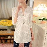 Online discount shop Australia - Women Blouse Flower Print Blouse V-neck Organza Embroidered Shirt White Lace Blouse Top Plus Size