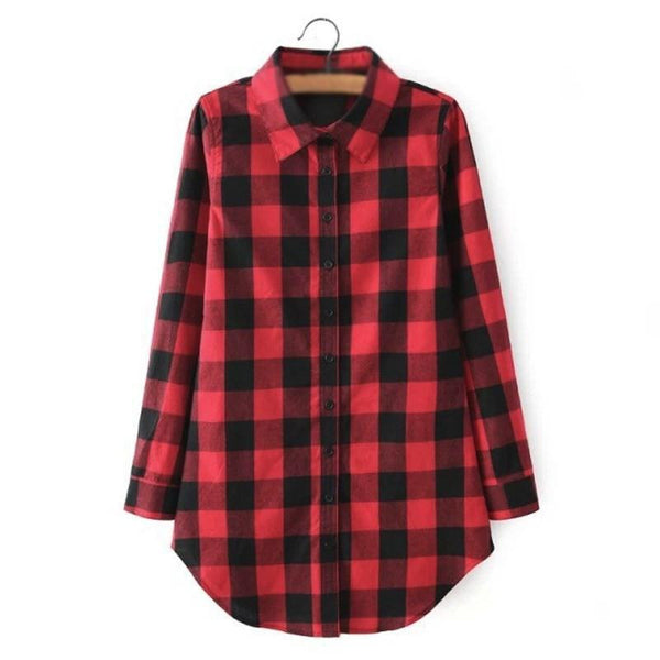 Women Style Plaid Casual Loose Long Shirts Ladies Long Sleeve Lapel Buttons Blouses Tops US Plus Size 4-22