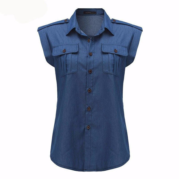 Women Fashion Vintage Buttons Pockets Blouses Sexy Sleeveless Jeans Denim Blue Shirts Female Casual Tops
