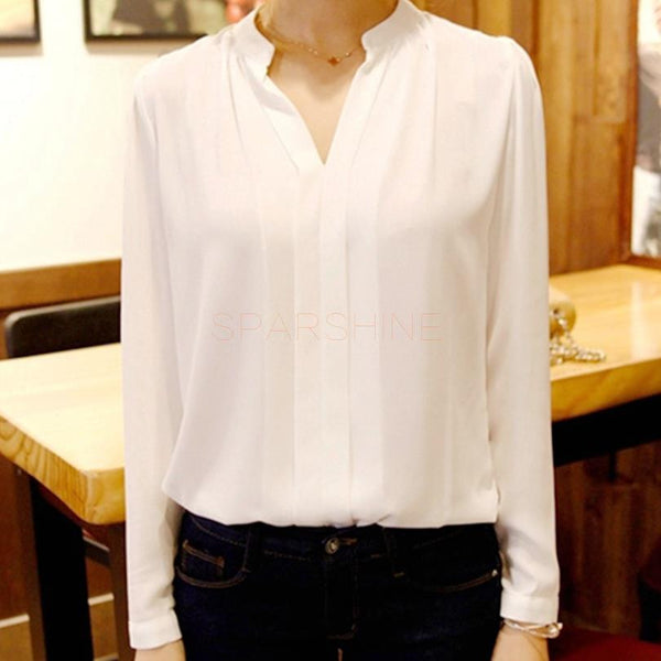 Top Quality Womens Long Sleeve White Elegant Chiffon Blouse Shirt Ladies Sexy V-Neck Blouses Female Office Plus Size