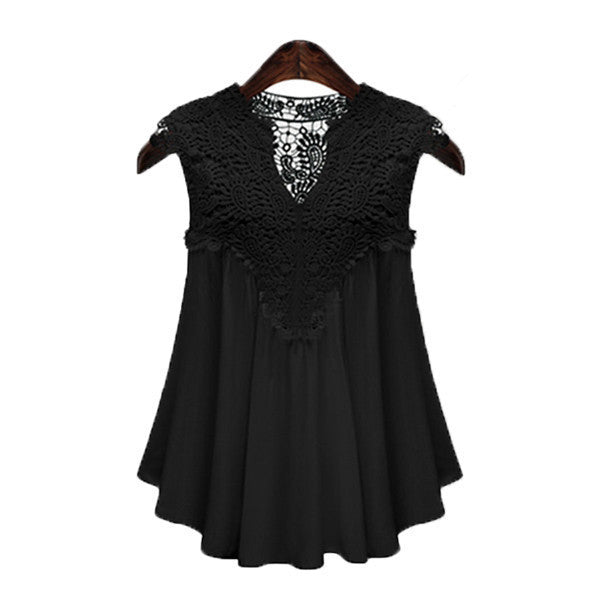 Women Blouse Sexy V-neck Lace Chiffon Vintage Sleeveless Crochet Casual Shirts Tops Plus Size