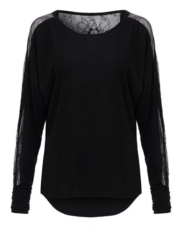 5e51641bbf4 ZANZEA Women Batwing Long Sleeve Lace Patchwork Blouse Black Crochet  Backless Tops Casual Loose Shirts
