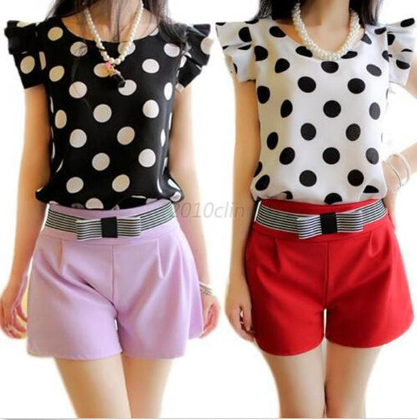 Women's Tops Casual Chiffon Blouse Short Sleeve Tourism Shirt Polka Dot shirts