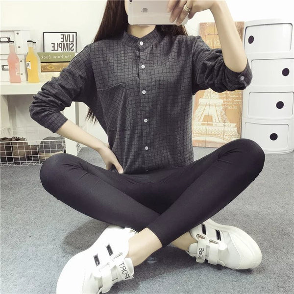 Plus Size Loose Ladies Female Casual Long Style Women Blouse Plaid Shirts Women Tops