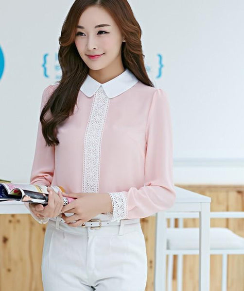 Women Solid Pink White Chiffon Blouse Cute OL Shirt Peter Pan Collar Puff Sleeve Patchwork