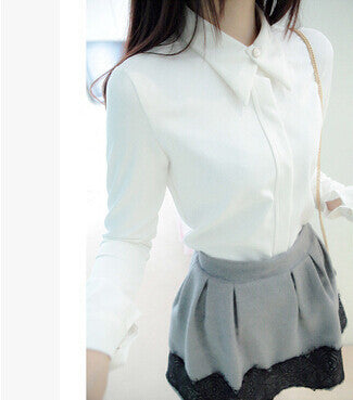 Online discount shop Australia - White Shirt Chiffon Women White Black Blouses Elegant Woman Clothes