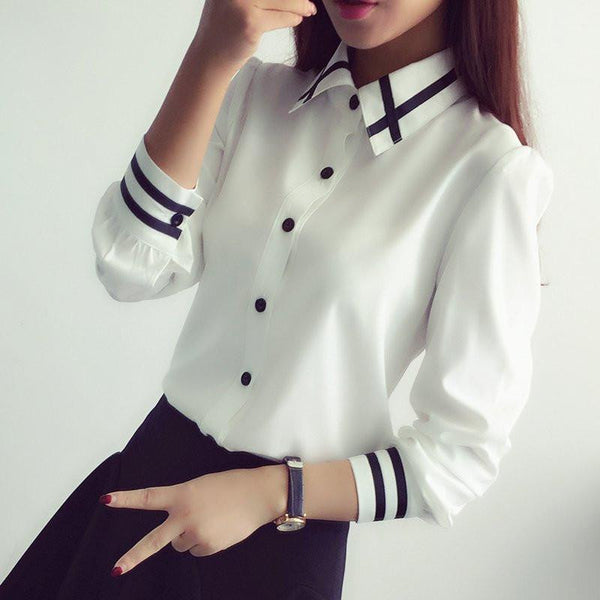Women Office Lady s Blouses Fashion Long Sleeve Sequin Chiffon Ladies  Office Shirt White Blue Tops Formal 39916d822