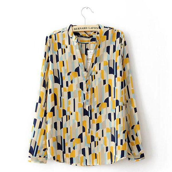 Women's Shirts Tops Turn-down Collar Geometric Print Long Sleeve Career Blouse