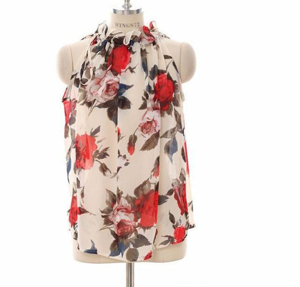 Online discount shop Australia - Add Two Colors Women Shirts European  Flowers Print Halter Sleeveless Ruffled Neck Blouse Women Elegant Tops T57240