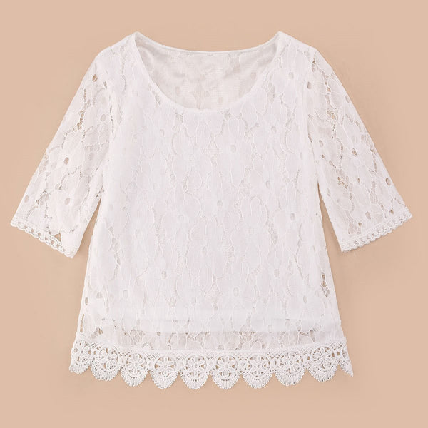 Plus Size Women Loose O-neck Chiffon Shirt Style Female Sweet Lace Blouse Half Sleeve White Black