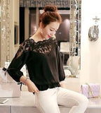 Online discount shop Australia - Chiffon Shirt Newest Sweet Hollow Shirt Three Quarter Sleeve Stitching Lace Blouse Female Crop Top Sexy