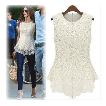 Women White Lace Blouses Sexy Crochet Lace Tops Women Sleeveless Chiffon Shirts AWT0002