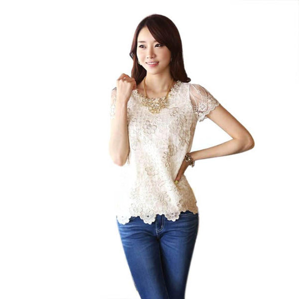 Women Short Sleeve Lace Chiffon Blouse Tops Pearls Neck Flower Shirt KJ2