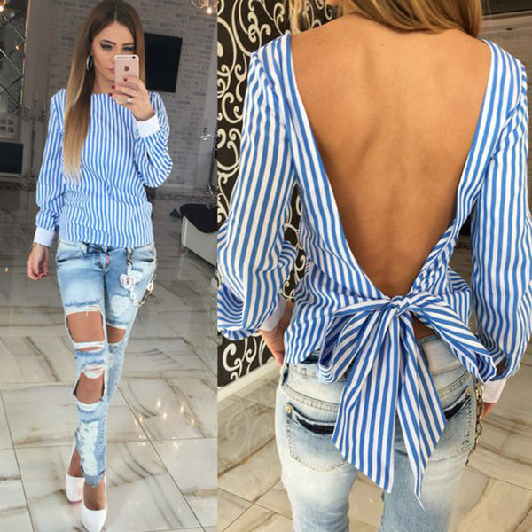Blue striped long sleeve women blouses Pink backless with Bow ladies sexy shirts