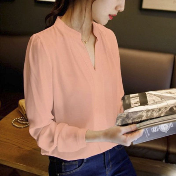 Online discount shop Australia - Casual White Womens Chiffon Blouse Ladies Solid Elegant V-neck Blouses Long Sleeve OL Office Shirt Plus Size