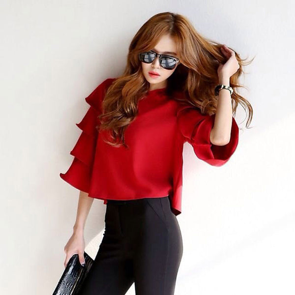 New Women Flare-Sleeve Blouses & Shirts Fashion Women's Short Pullover Tops Stylish Elegand Brand