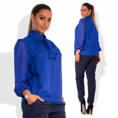 Women long sleeve blue office chiffon blouse solid casual women shirt top plus size