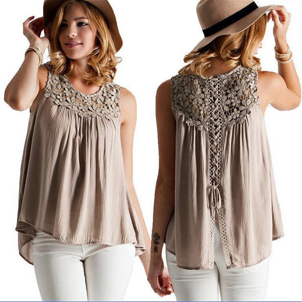 Style Women Casual Chiffon Blouses Solid Sleeveless Shirts Women Tops Cheap Clothes Plus Size