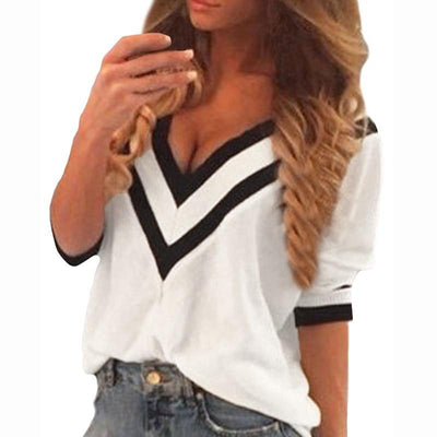 Women Sexy Tee Tops Casual Deep V Neck Splicing Blouses Ladies Loose 3/4 Sleeve Shirts US Plus Size Pullover