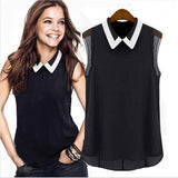 Women Short Sleeve Chiffon Blouse Fashion Casual Sleeveless Patchwork Tulle Blouse Manga