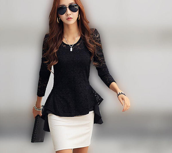 Women Sheer Lace Blouse Office Tops Long Sleeve Floral Slim Fitted Shirt Peplum Top Black Plus Size CL1648